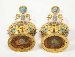 Ferdinand Barbedienne Extremely Rare Pair of Ferdinand Barbedienne Ormolu and Champleve Enamel Vases - 1169000