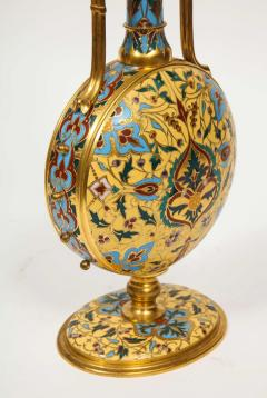 Ferdinand Barbedienne Extremely Rare Pair of Ferdinand Barbedienne Ormolu and Champleve Enamel Vases - 1169001