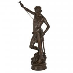 Ferdinand Barbedienne Large French patinated bronze sculpture of David by Merci and Barbedienne - 1626985