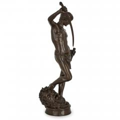 Ferdinand Barbedienne Large French patinated bronze sculpture of David by Merci and Barbedienne - 1626986