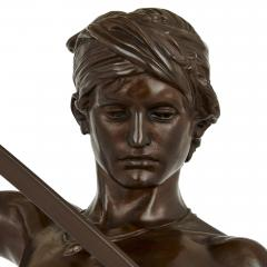 Ferdinand Barbedienne Large French patinated bronze sculpture of David by Merci and Barbedienne - 1626988