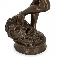Ferdinand Barbedienne Large French patinated bronze sculpture of David by Merci and Barbedienne - 1626989