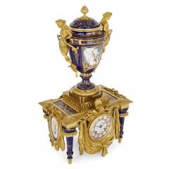 Ferdinand Barbedienne Neoclassical style porcelain and gilt bronze mantel clock by Barbedienne - 1558854