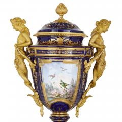 Ferdinand Barbedienne Neoclassical style porcelain and gilt bronze mantel clock by Barbedienne - 1558856