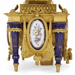 Ferdinand Barbedienne Neoclassical style porcelain and gilt bronze mantel clock by Barbedienne - 1558857
