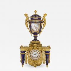 Ferdinand Barbedienne Neoclassical style porcelain and gilt bronze mantel clock by Barbedienne - 1561417
