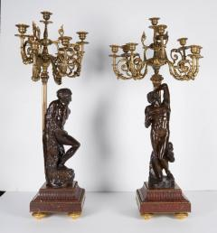 Ferdinand Barbedienne a Large Pair of French Gilt Patinated Bronze Candelabras - 1160189