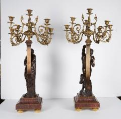 Ferdinand Barbedienne a Large Pair of French Gilt Patinated Bronze Candelabras - 1160196
