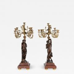 Ferdinand Barbedienne a Large Pair of French Gilt Patinated Bronze Candelabras - 1161907