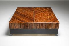 Ferdinando Loffredo Bamboo Black Lacquer and Brass Coffee Table Italy 1970s - 1691754