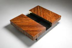 Ferdinando Loffredo Bamboo Black Lacquer and Brass Coffee Table Italy 1970s - 1691757