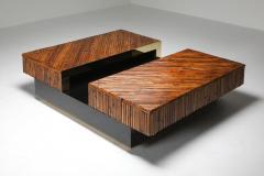 Ferdinando Loffredo Bamboo Black Lacquer and Brass Coffee Table Italy 1970s - 1691758