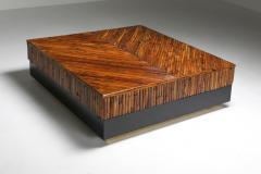 Ferdinando Loffredo Bamboo Black Lacquer and Brass Coffee Table Italy 1970s - 1691761