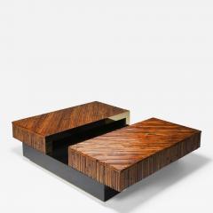 Ferdinando Loffredo Bamboo Black Lacquer and Brass Coffee Table Italy 1970s - 1695054