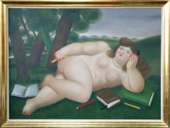 Fernando Botero Reclining Nude with Books and Pencils on Lawn - 123310