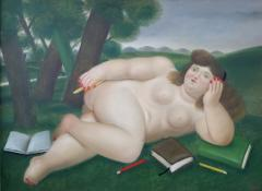 Fernando Botero Reclining Nude with Books and Pencils on Lawn - 123374