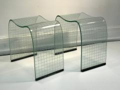 Fiam Pair of Vittorio Livi Curved Glass Crystal Scrolls or Side Tables - 524501