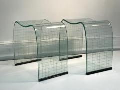 Fiam Pair of Vittorio Livi Curved Glass Crystal Scrolls or Side Tables - 524502