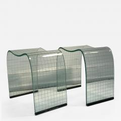 Fiam Pair of Vittorio Livi Curved Glass Crystal Scrolls or Side Tables - 525964