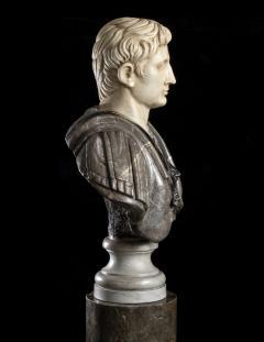 Figurative Sculpture Marble Polychrome Portrait Bust of Roman Emperor Augustus - 2075380