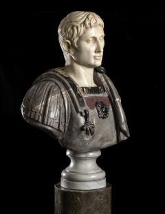Figurative Sculpture Marble Polychrome Portrait Bust of Roman Emperor Augustus - 2075382