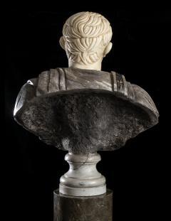 Figurative Sculpture Marble Polychrome Portrait Bust of Roman Emperor Augustus - 2075383