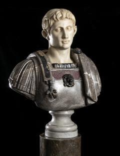Figurative Sculpture Marble Polychrome Portrait Bust of Roman Emperor Augustus - 2075384