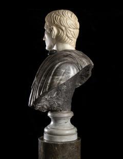 Figurative Sculpture Marble Polychrome Portrait Bust of Roman Emperor Augustus - 2075385