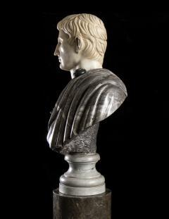 Figurative Sculpture Marble Polychrome Portrait Bust of Roman Emperor Augustus - 2075386