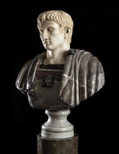 Figurative Sculpture Marble Polychrome Portrait Bust of Roman Emperor Augustus - 2075388