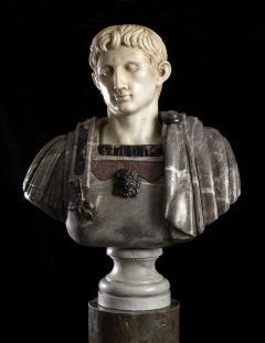 Figurative Sculpture Marble Polychrome Portrait Bust of Roman Emperor Augustus - 2075389