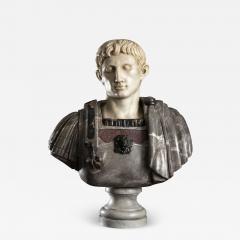 Figurative Sculpture Marble Polychrome Portrait Bust of Roman Emperor Augustus - 2075791