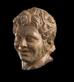 Figurative Sculpture Terracotta Head of a Laughing Satyr Roman Academy 19th - 2022985