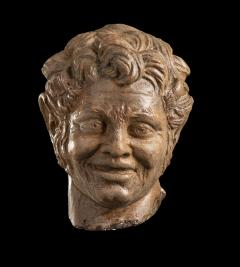 Figurative Sculpture Terracotta Head of a Laughing Satyr Roman Academy 19th - 2022987