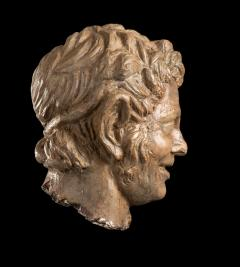 Figurative Sculpture Terracotta Head of a Laughing Satyr Roman Academy 19th - 2022990