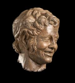 Figurative Sculpture Terracotta Head of a Laughing Satyr Roman Academy 19th - 2022991
