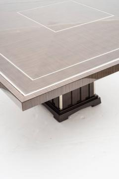 Fine Bespoke Dining Room Table Veneer Wood Top and Base with Chrome Inserts - 632776