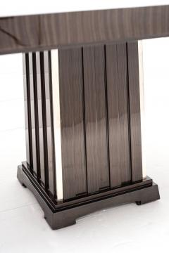 Fine Bespoke Dining Room Table Veneer Wood Top and Base with Chrome Inserts - 632777