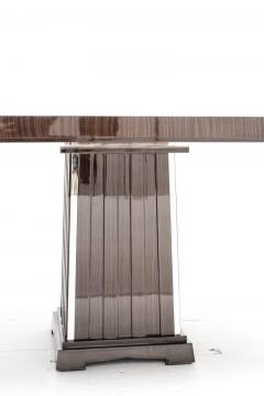 Fine Bespoke Dining Room Table Veneer Wood Top and Base with Chrome Inserts - 632778
