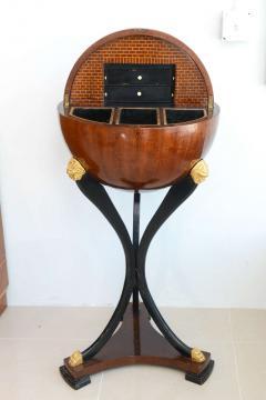 Fine Biedermeier Mahogany Ebonized and Parcel Gilt Globe Form Work Desk - 348794