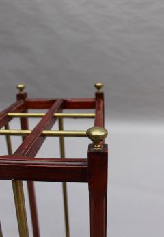 Fine French 1900s Brass and Wood Umbrella Stand - 2067075