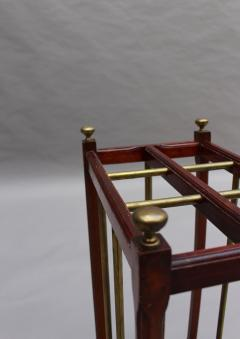 Fine French 1900s Brass and Wood Umbrella Stand - 2067076
