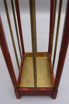 Fine French 1900s Brass and Wood Umbrella Stand - 2067080