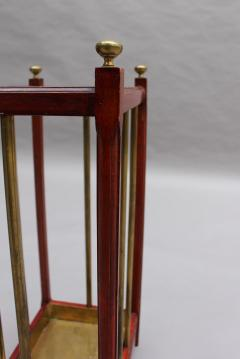 Fine French 1900s Brass and Wood Umbrella Stand - 2067082