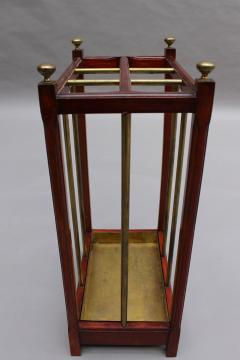 Fine French 1900s Brass and Wood Umbrella Stand - 2067083