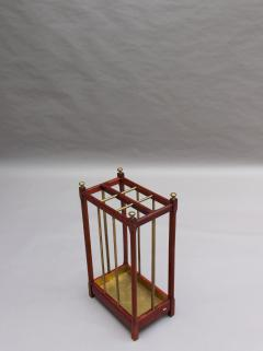 Fine French 1900s Brass and Wood Umbrella Stand - 2067091