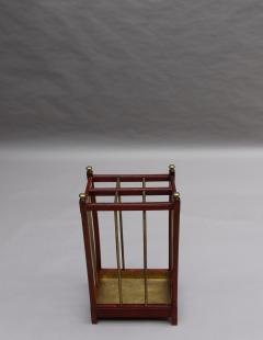 Fine French 1900s Brass and Wood Umbrella Stand - 2067092