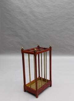 Fine French 1900s Brass and Wood Umbrella Stand - 2067102
