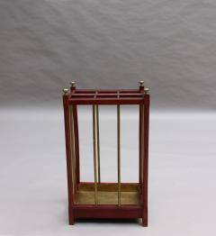 Fine French 1900s Brass and Wood Umbrella Stand - 2067104