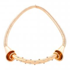 Fine French Retro Diamond and Gold Tubogas Necklace - 114756